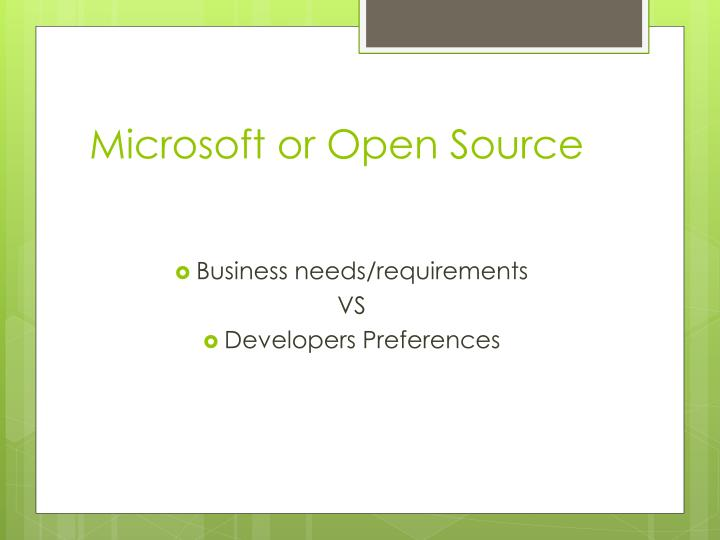Microsoft or open source