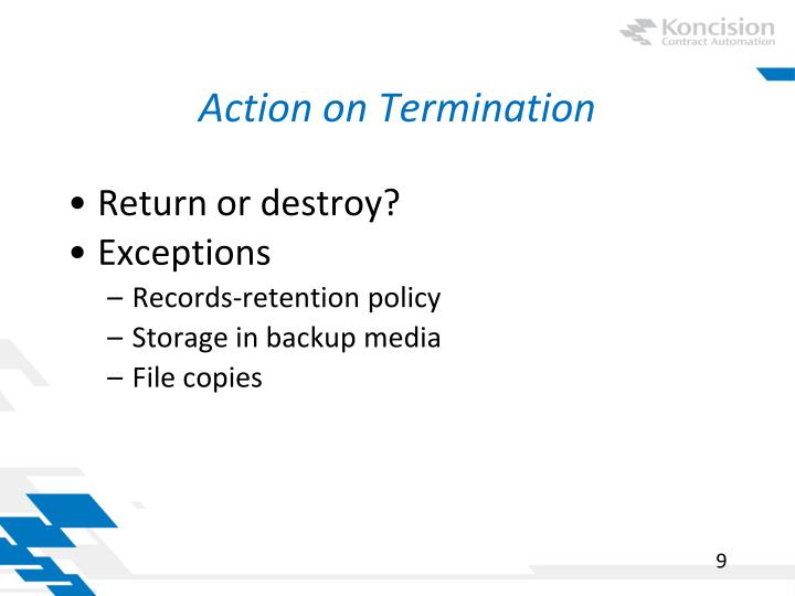 Action on Termination