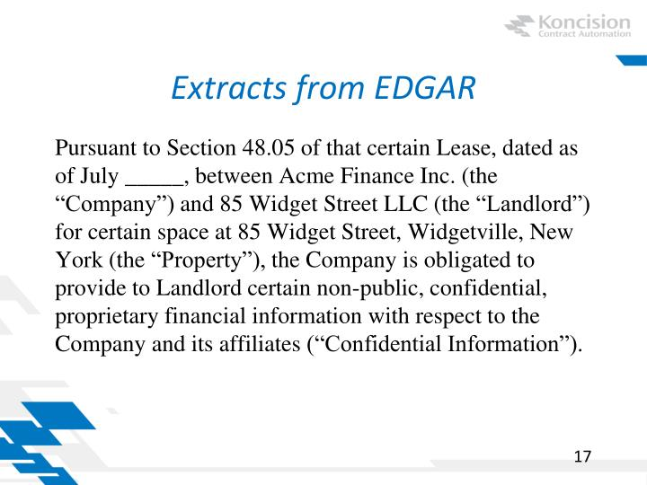 Extracts from EDGAR