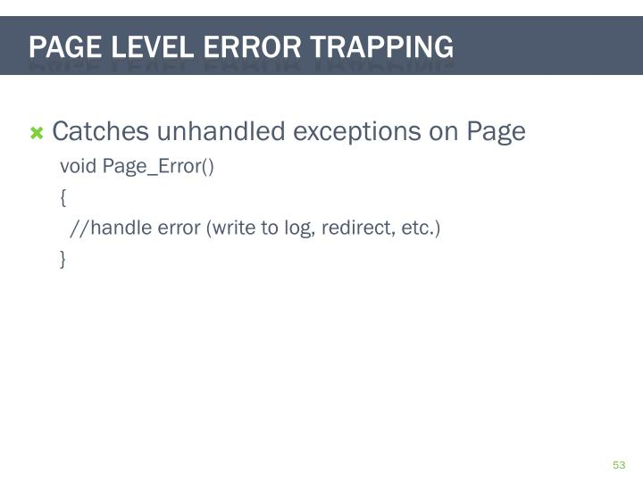Catches unhandled exceptions on Page