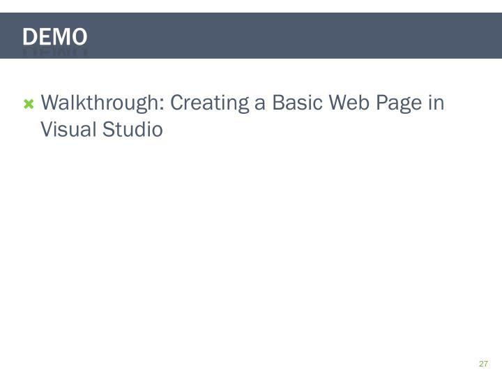 Walkthrough: Creating a Basic Web Page in Visual Studio