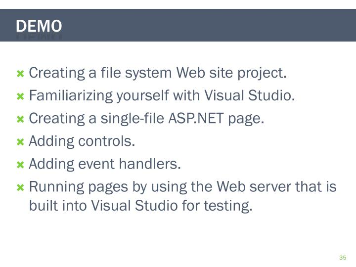 Creating a file system Web site project.