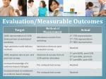 evaluation measurable outcomes1