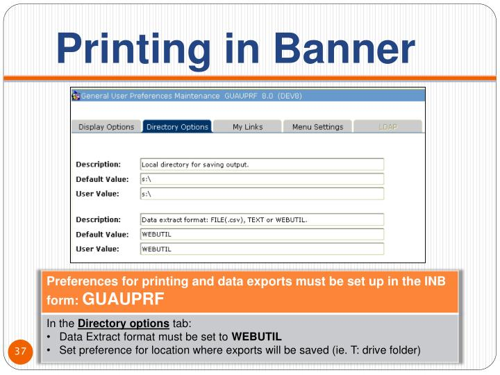 Printing in Banner