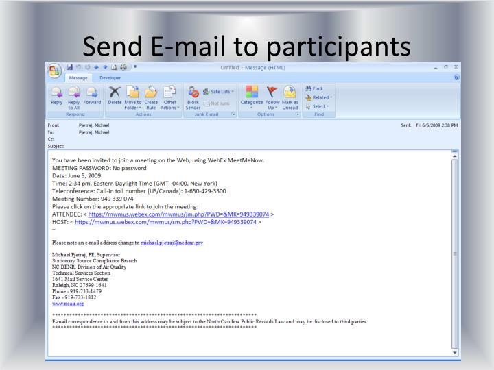 Send E-mail to participants