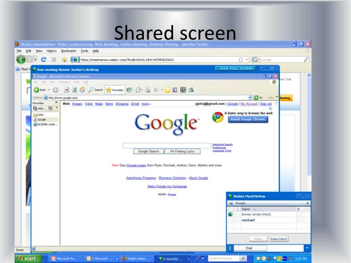 Shared screen