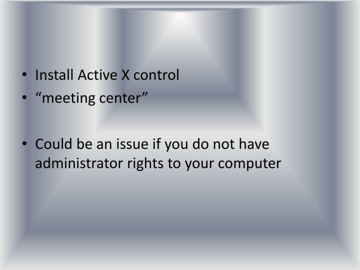 Install Active X control