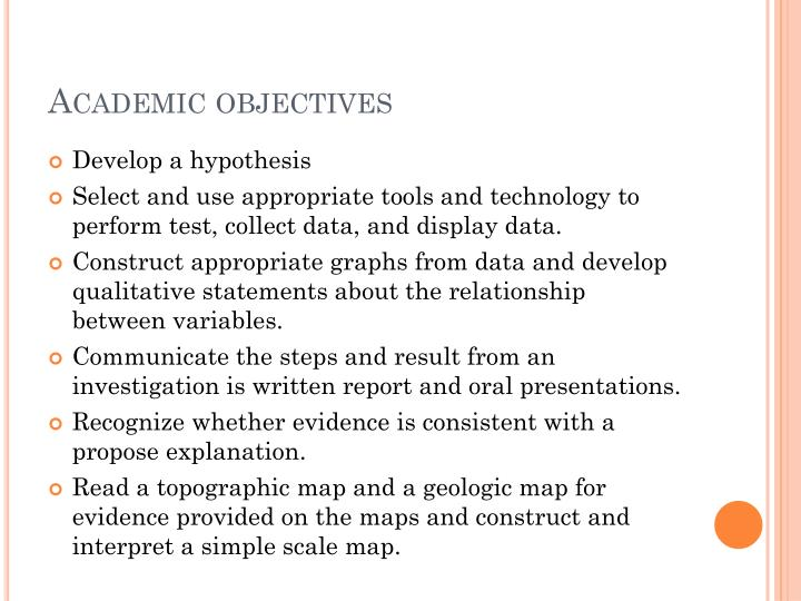 Academic objectives