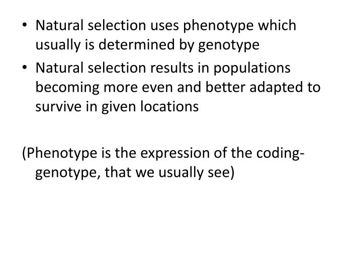 Natural selection uses phenotype which usually is determined by genotype