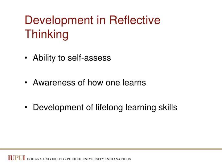 Development in Reflective Thinking