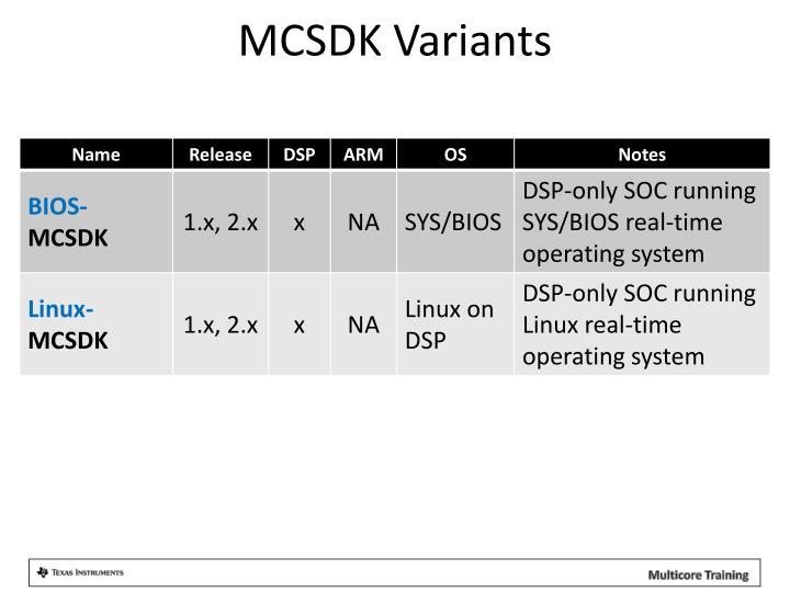 MCSDK Variants