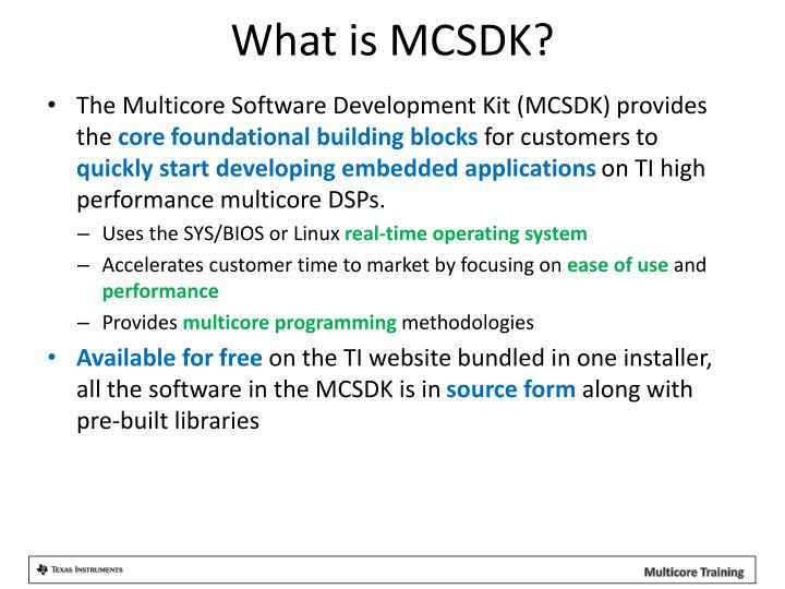 What is MCSDK?