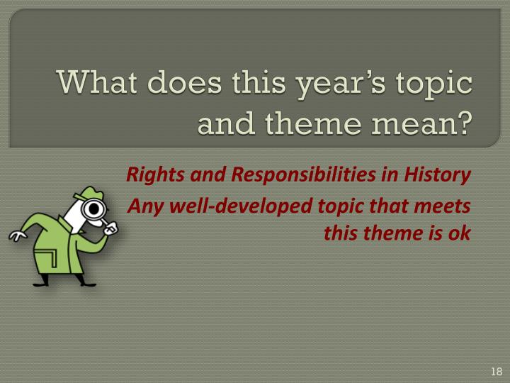 What does this year's topic and theme mean?
