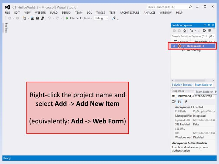 Right-click the project name and select