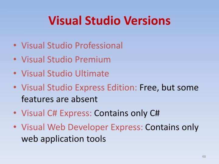 Visual Studio Versions