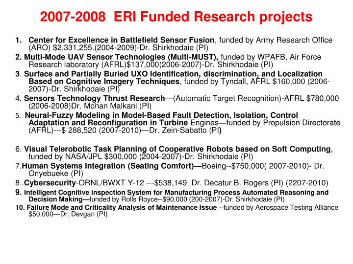2007-2008  ERI Funded Research projects