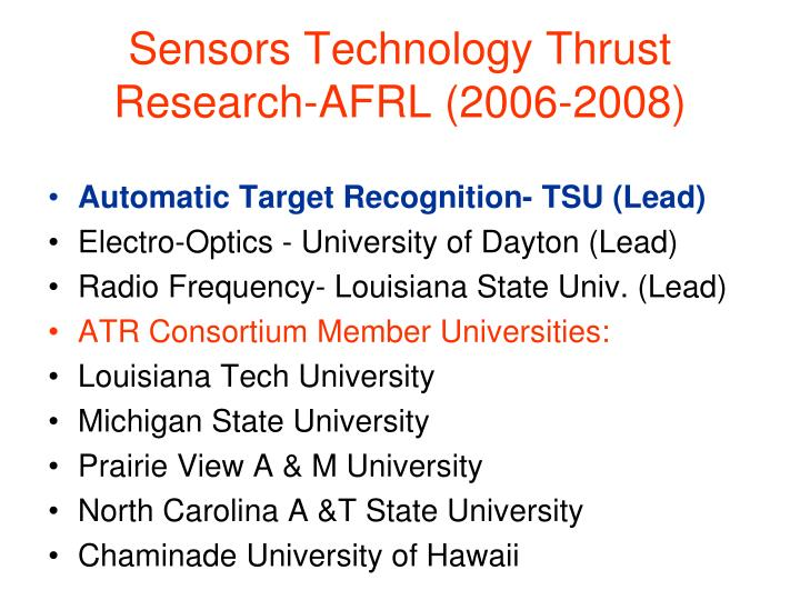 Sensors Technology Thrust Research-AFRL (2006-2008)