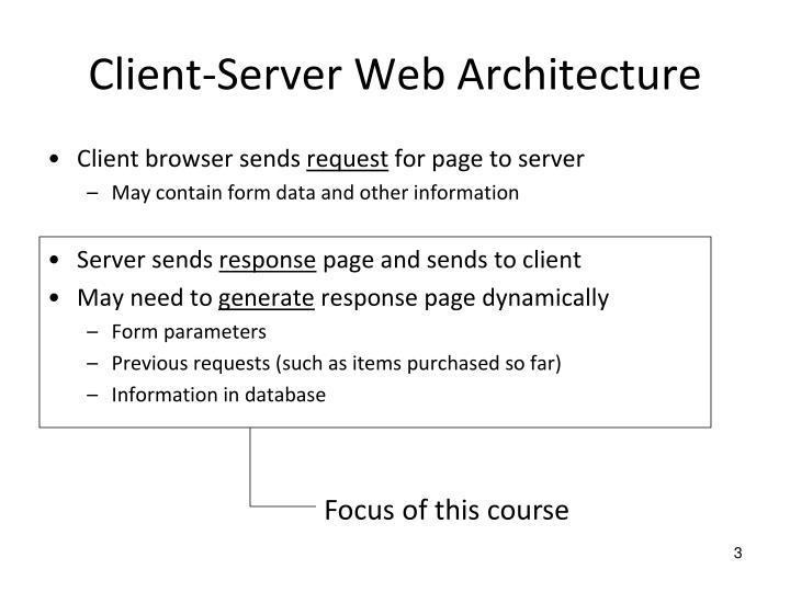 Client server web architecture
