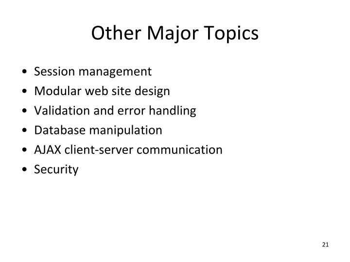Other Major Topics