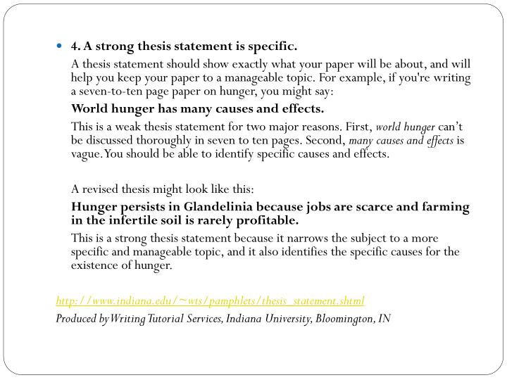 Weak thesis statements vs strong