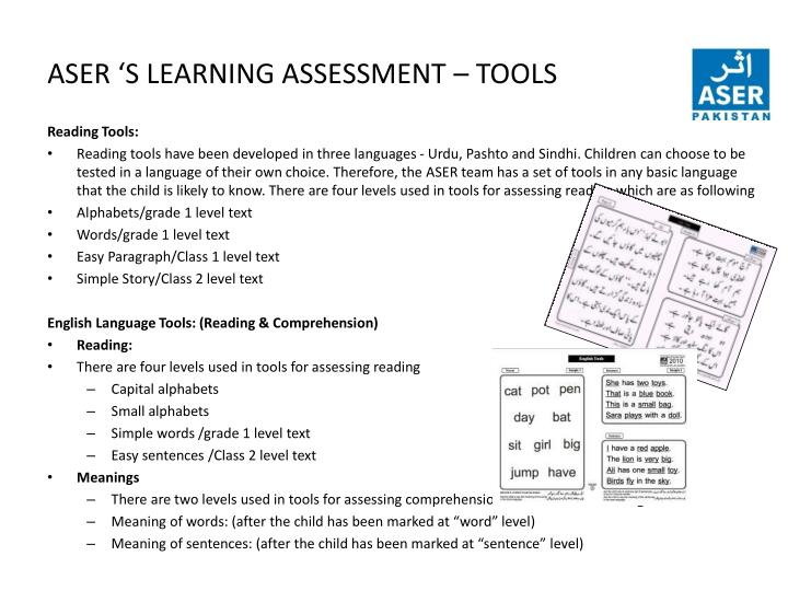 ASER 'S LEARNING ASSESSMENT – TOOLS