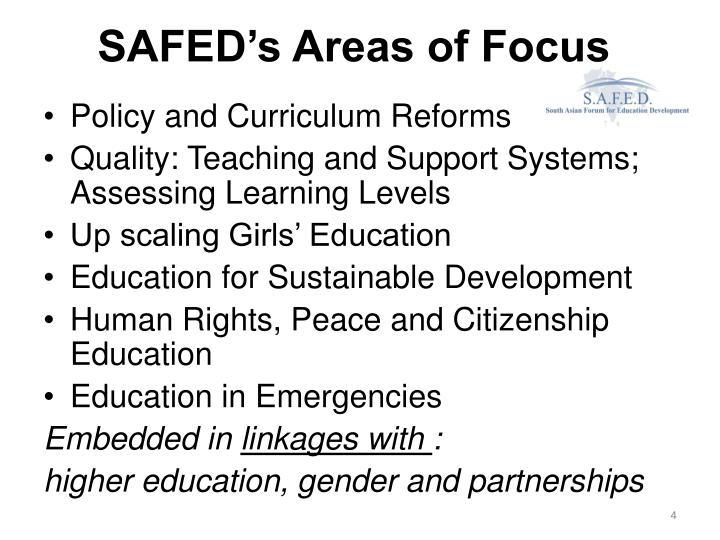 SAFED's Areas of Focus
