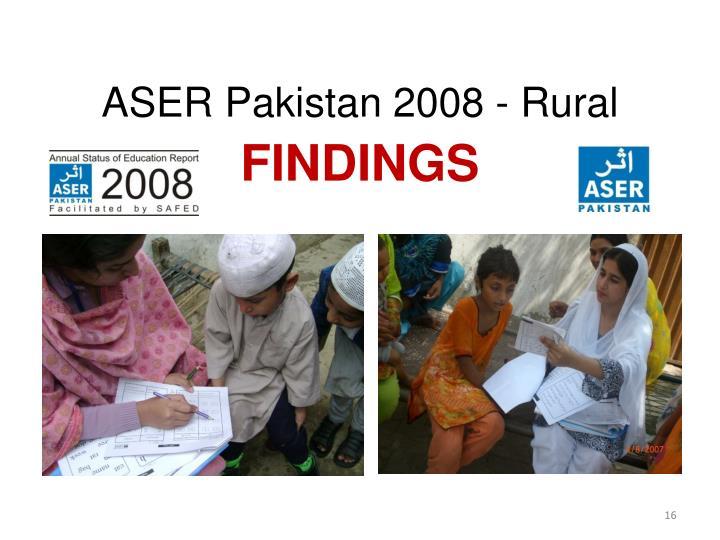 ASER Pakistan 2008 - Rural