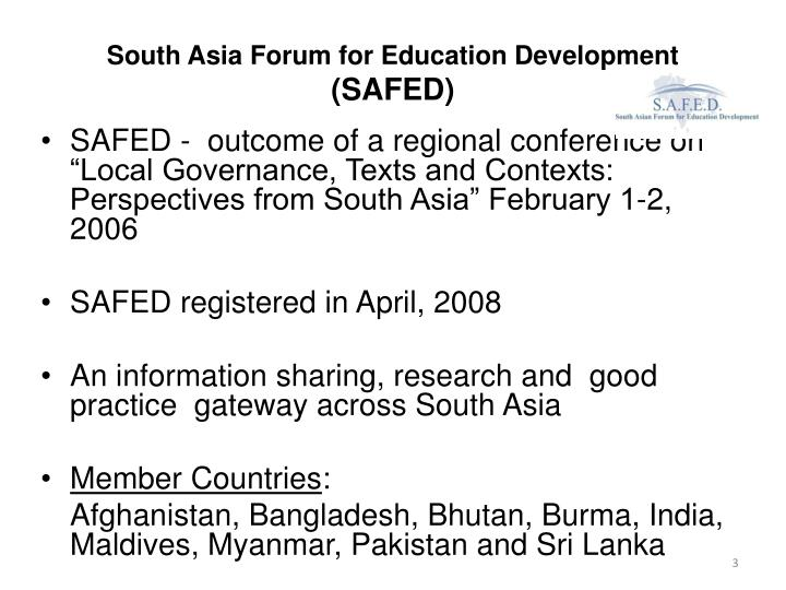 South asia forum for education development safed