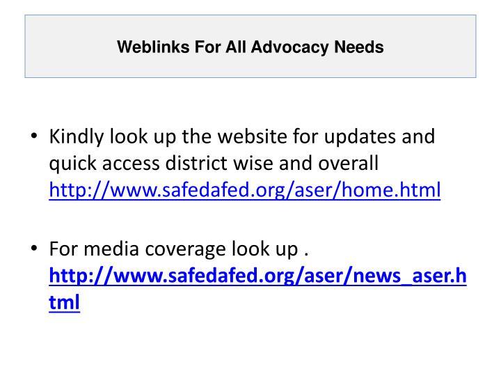 Weblinks For All Advocacy Needs