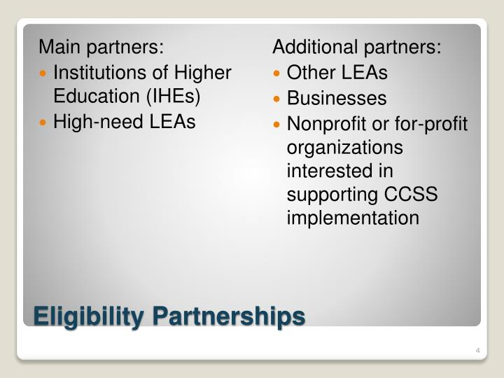 Main partners: