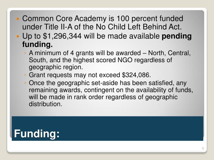 Common Core Academy is 100 percent funded under Title II-A of the No Child Left Behind Act.