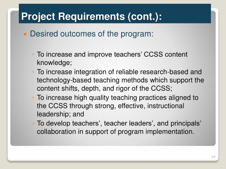 Desired outcomes of the program: