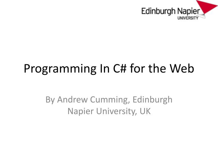 programming in c for the web n.