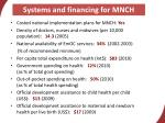systems and financing for mnch