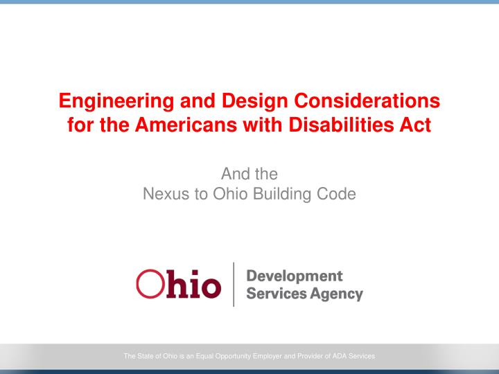 Engineering and design considerations for the americans with disabilities act