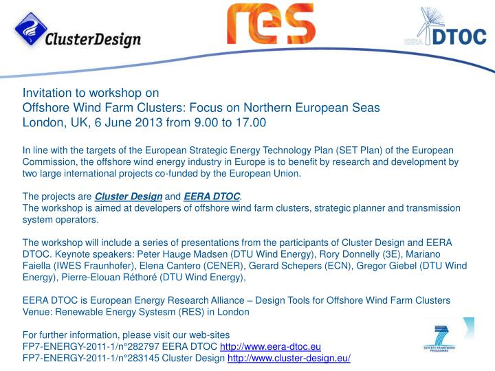 Invitation to workshop on