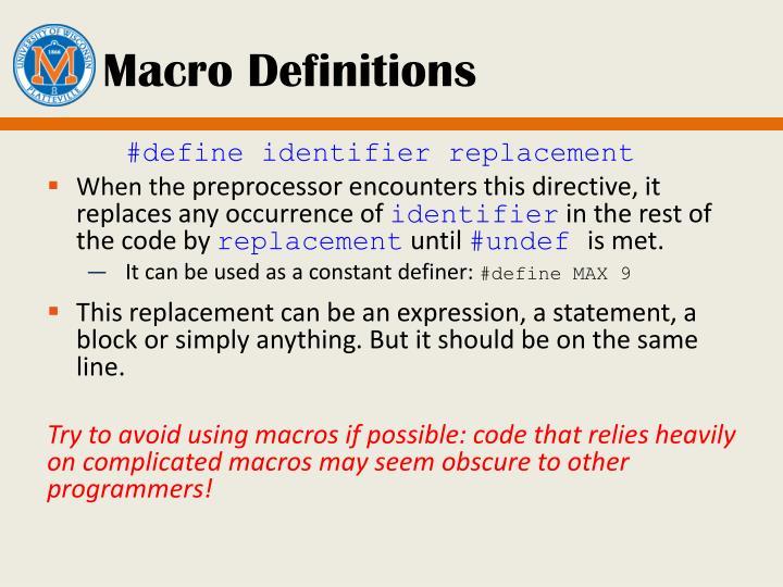 Macro Definitions