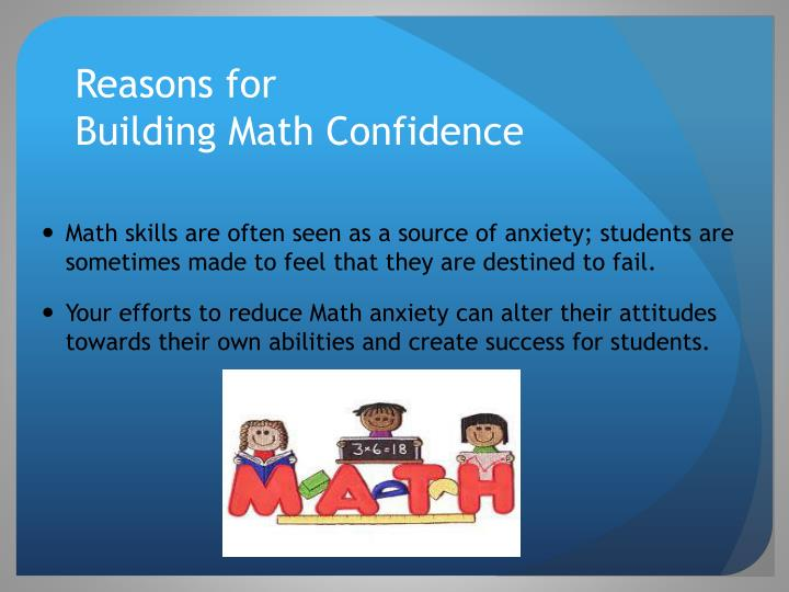 Reasons for building math confidence