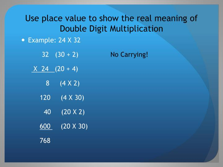 Use place value to show the real meaning of