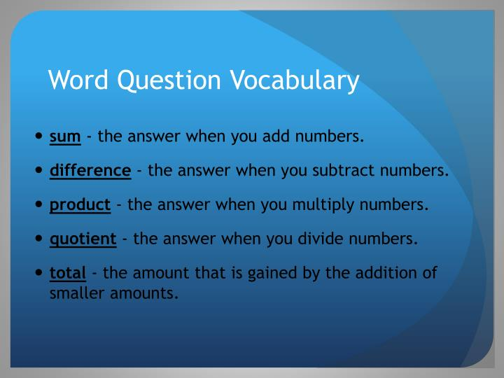 Word Question Vocabulary