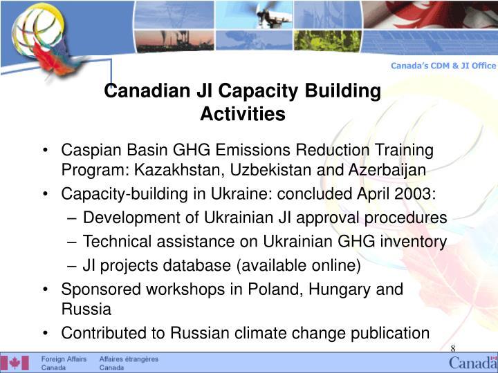 Canadian JI Capacity Building Activities