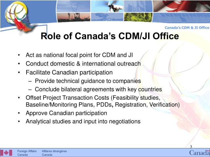 Role of canada s cdm ji office
