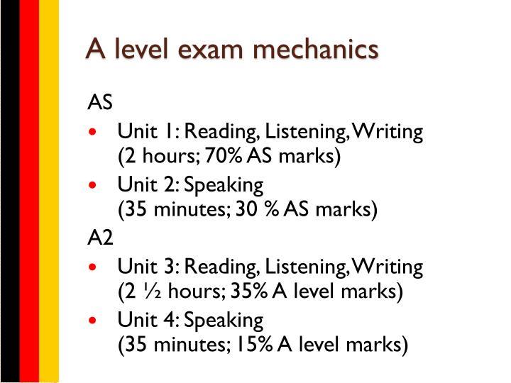 A level exam mechanics