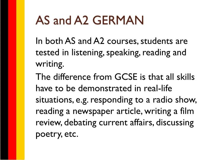 AS and A2 GERMAN