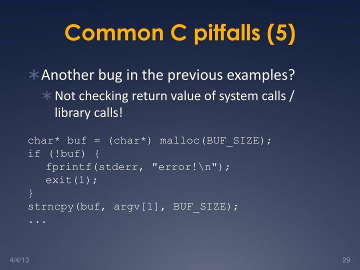 Common C pitfalls (5)