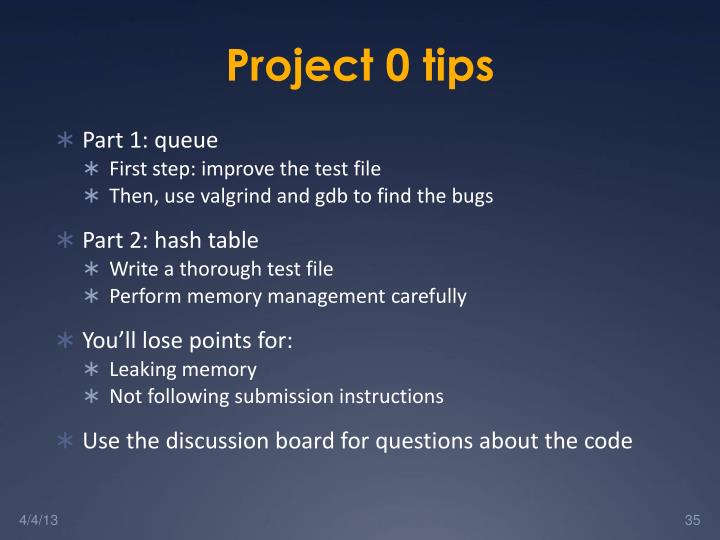 Project 0 tips