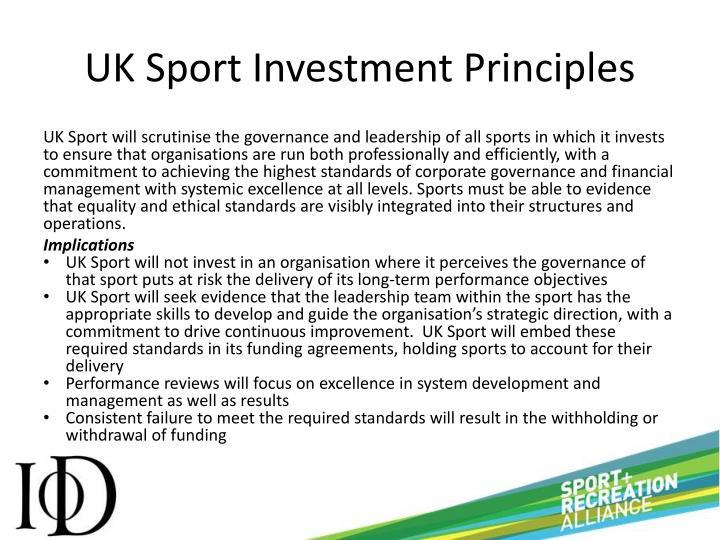 UK Sport Investment Principles