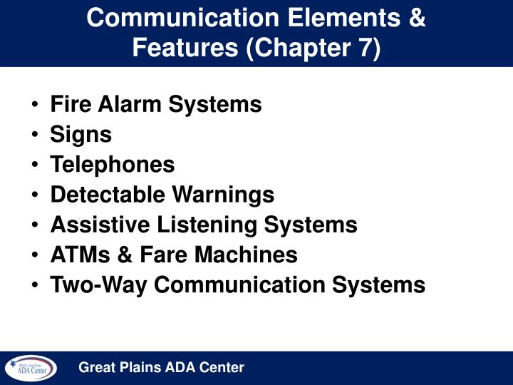 Communication Elements & Features (Chapter 7)