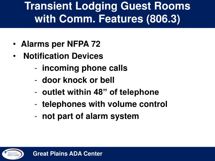 Transient Lodging Guest Rooms with Comm. Features (806.3)
