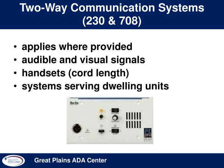Two-Way Communication Systems (230 & 708)